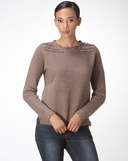 BEADED SHOULDER SWEATER - orangeshine.com