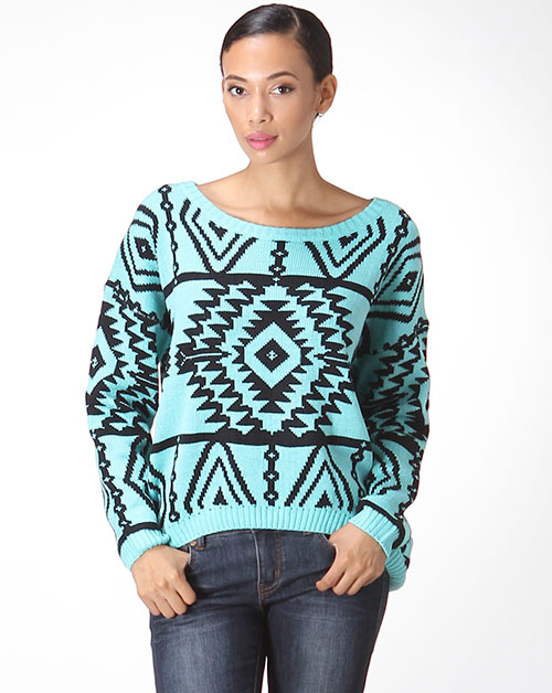 AZTEC HI-LOW PULLOVER SWEATER - orangeshine.com