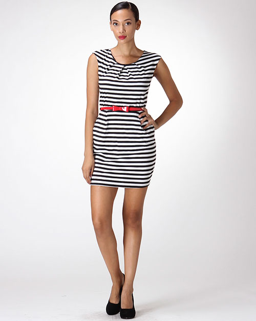 STRIPED DRESS W/ RED BOW BELT - orangeshine.com