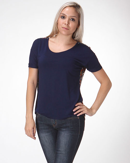 cutout top with damask print - orangeshine.com