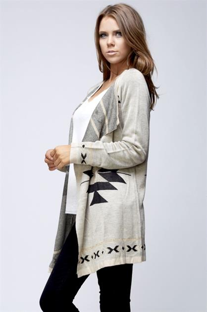 Tribal Open-front Cardigan - orangeshine.com