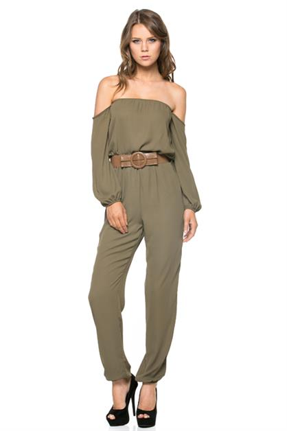 Off Shoulder Belted Jumpsuit - orangeshine.com