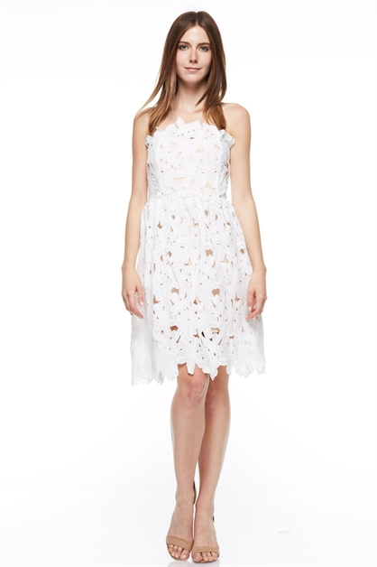 flower lace tube dress - orangeshine.com