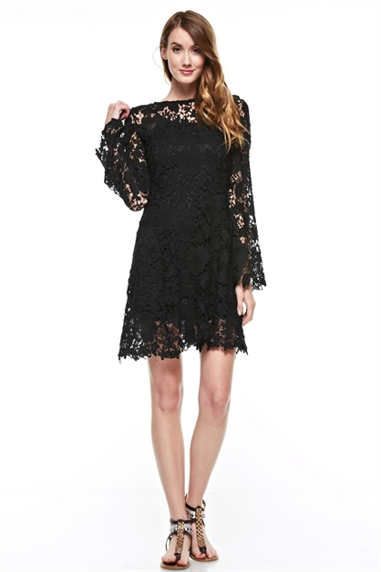 long sleeve lace dress - orangeshine.com