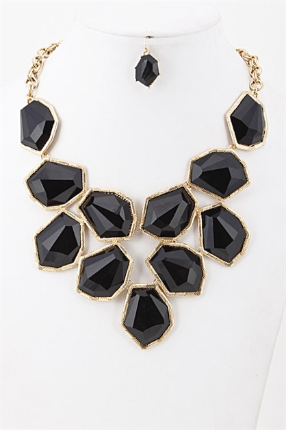 FAUX STONE STATEMENT NECKLACE - orangeshine.com
