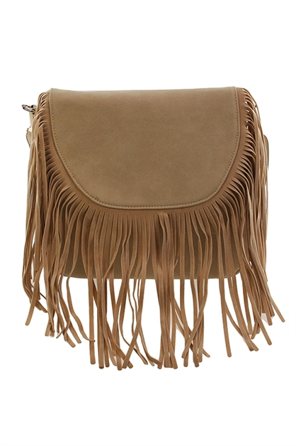FAUX SUEDE FRINGED CROSSBODY - orangeshine.com