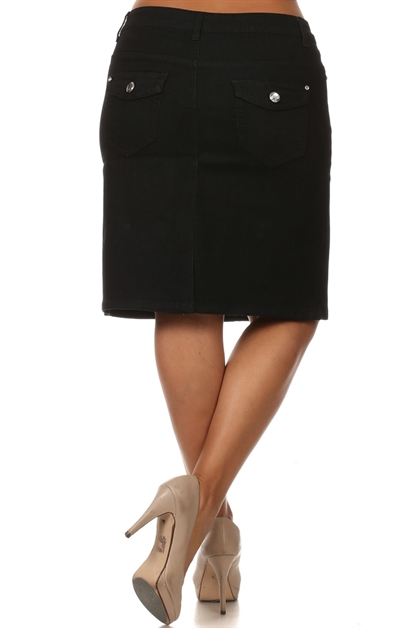 PLUS SIZE DENIM SKIRT MSB-3709 - orangeshine.com
