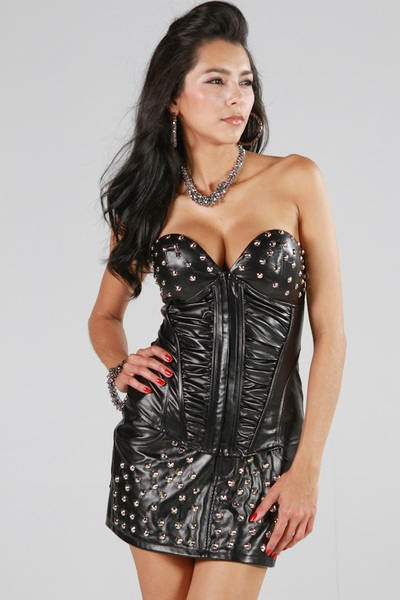 PU SHIRRING SPIKE CORSET - orangeshine.com