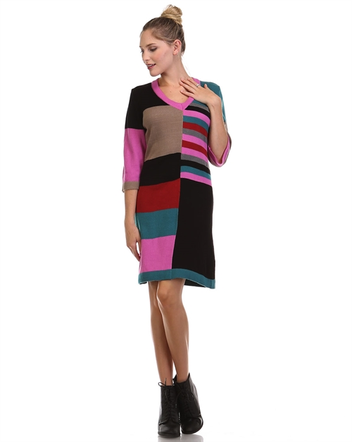 -Colorblock Sweater Dress -3/4 - orangeshine.com