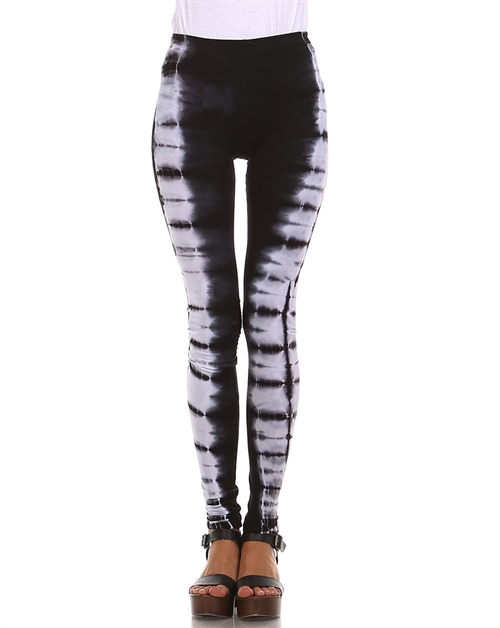 Black White Tie Dye Leggings - orangeshine.com