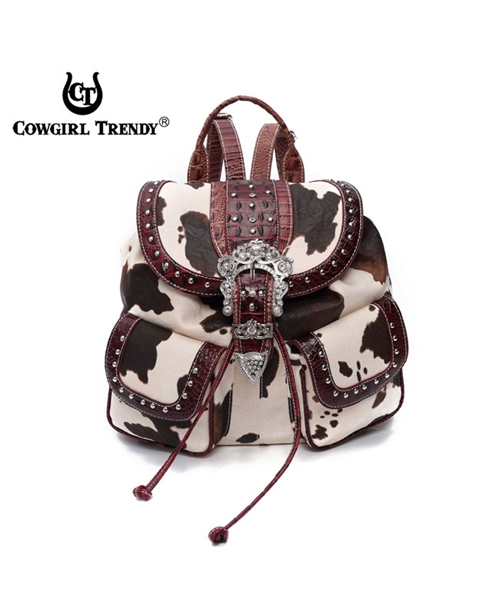 Cow Print Buckle Backpack - orangeshine.com