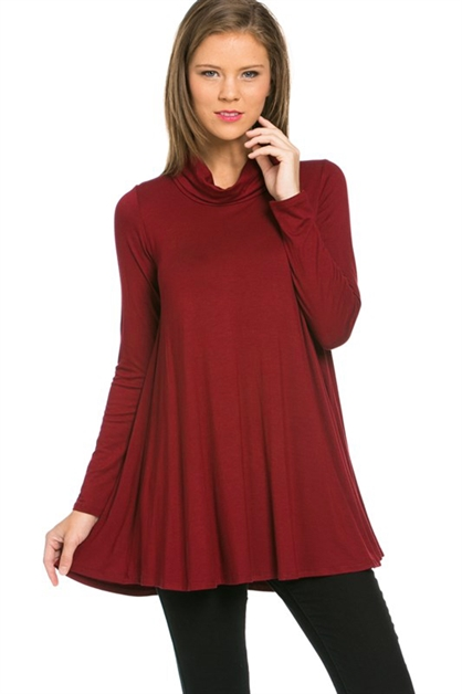 Cowl Neck Long Sleeves Tunic - orangeshine.com