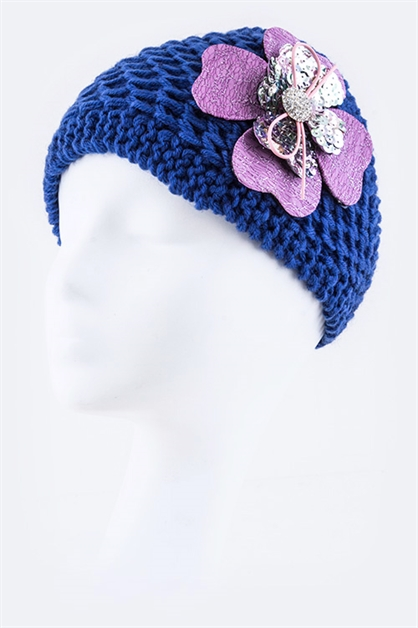 Flower  Wide Knit Headband - orangeshine.com