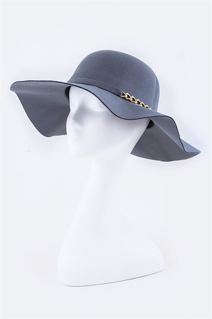 Chain Accent Felt Floppy Hat - orangeshine.com