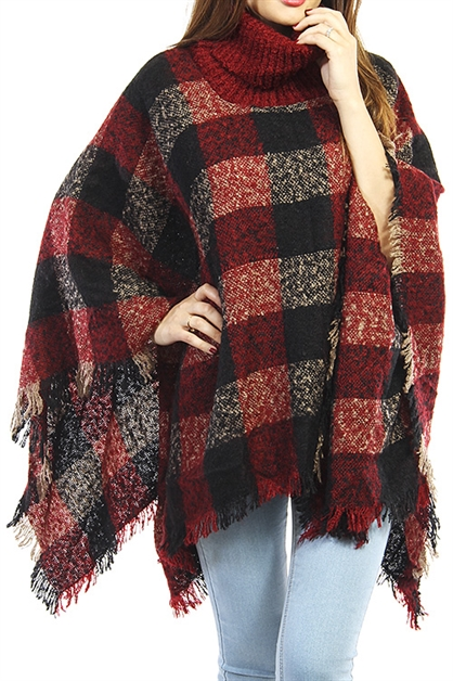 Large Plaid Fringed Poncho - orangeshine.com