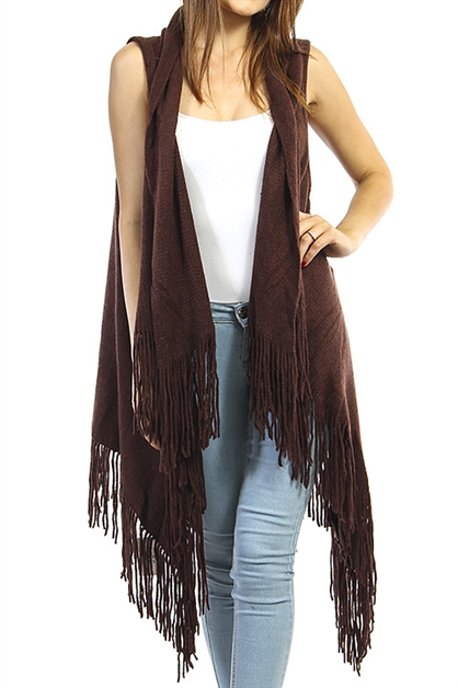 Long Skinny Fringed Poncho - orangeshine.com