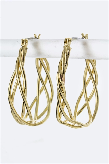 Interwined Wire Hoop Earrings - orangeshine.com