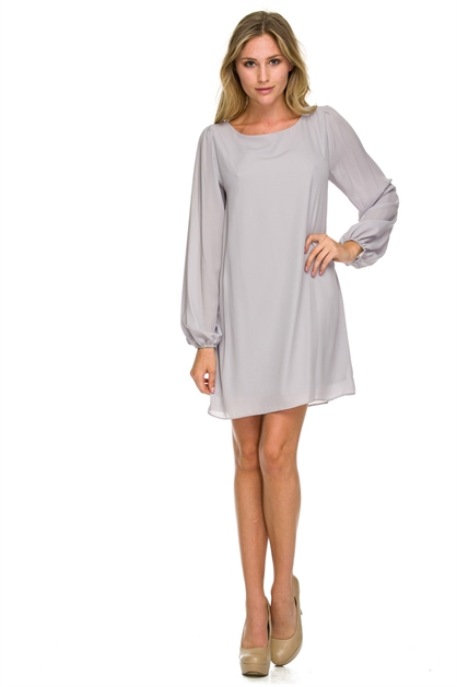 LONG BELL SLEEVE SHIFT DRESS - orangeshine.com