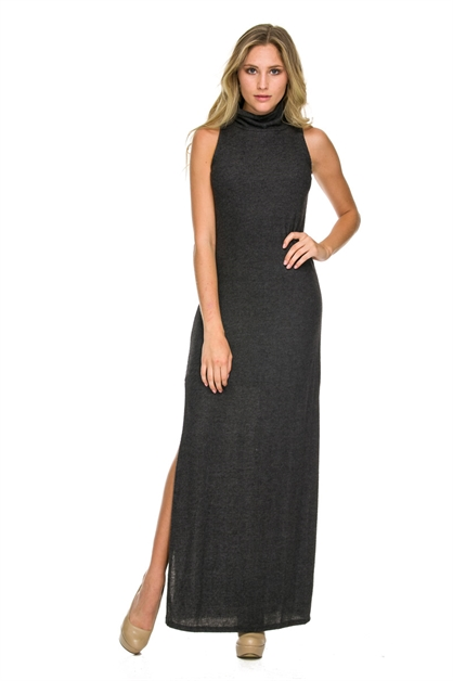 MOCK NECK FUZZY MAXI DRESS - orangeshine.com