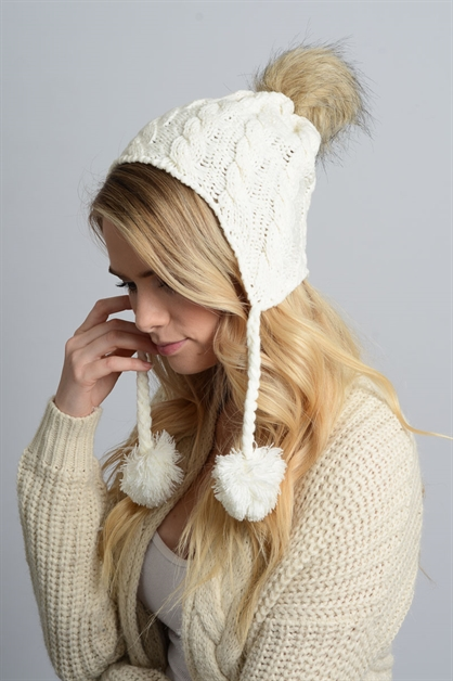 Cable Knit Ear Flap Beanie - orangeshine.com