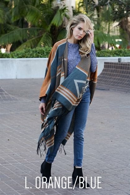 Tribal Ruana with Tassel - orangeshine.com