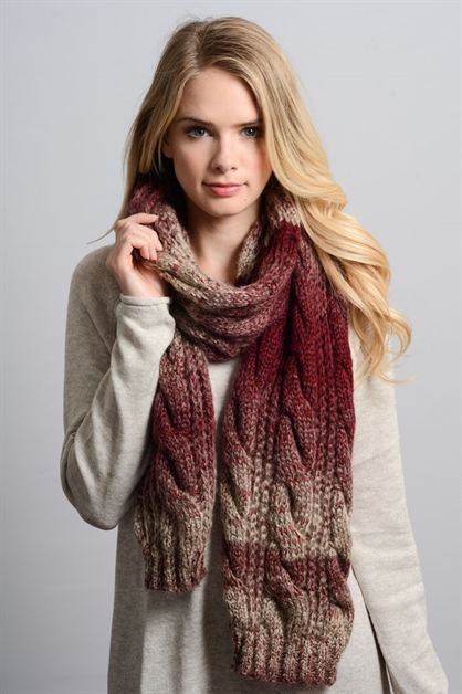 OMBRE CABLE KNIT SCARF - orangeshine.com