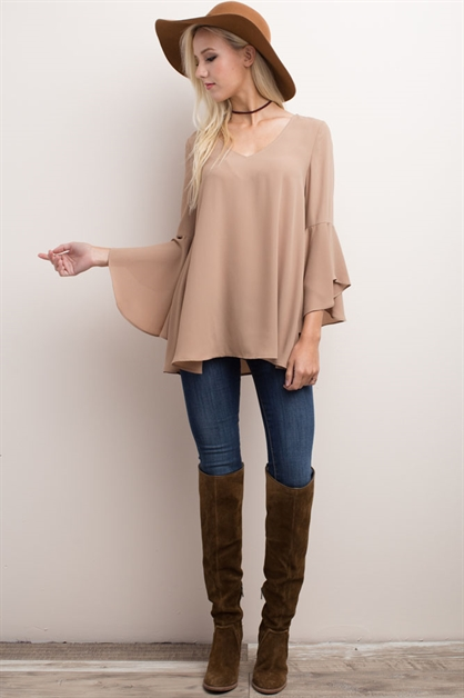 RUFFLED SLEEVED T-BACK TOP - orangeshine.com