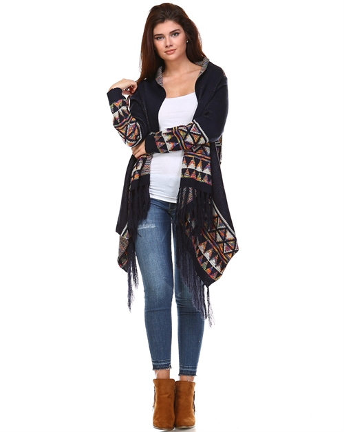 DIAMONDPRINT CARDIGAN W/FRINGE - orangeshine.com