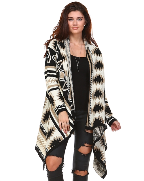 KNITTED DRAPE PRINTED CARDIGAN - orangeshine.com
