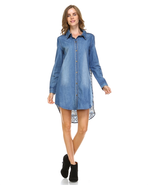 BACK PRINT DENIM DRESS - orangeshine.com