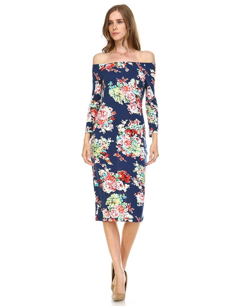 FLORAL PRINT BODY CON DRESS - orangeshine.com