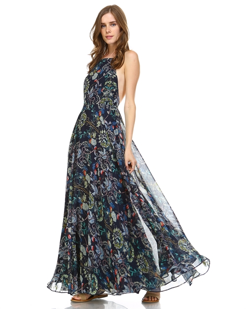 FLOWER PRINT MAXI DRESS - orangeshine.com