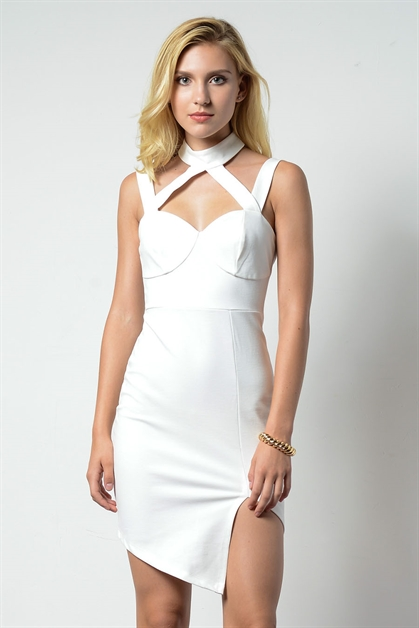 STRAP HIGH NECK SIDE SLIT DRES - orangeshine.com