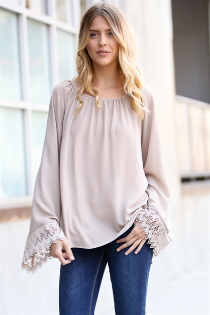 Long sleeve w/lace detail top - orangeshine.com