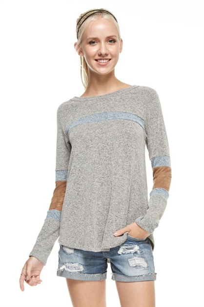 Suede stripe contrast knit top - orangeshine.com