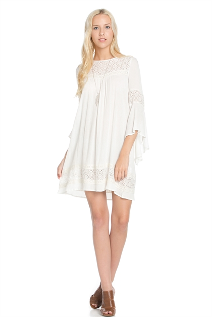 Lace detail bell sleeve dress - orangeshine.com