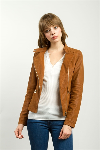 FAUX SUEDE ZIPPER-FRONT JACKET - orangeshine.com