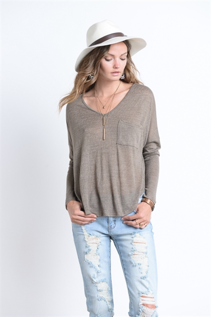 V NECK TOP WITH POCKET - orangeshine.com