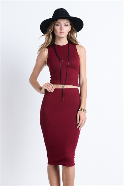 SLEEVELESS TOP W MIDI SKIRT - orangeshine.com
