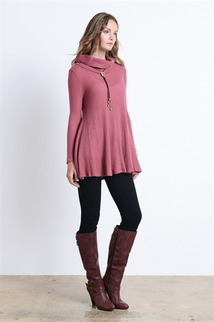 LONG SLEEVE TURTLE NECK TUNIC - orangeshine.com