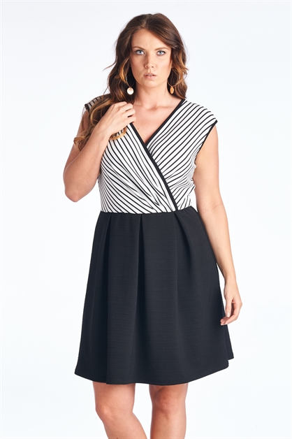 V-Neck Stripe Dress - orangeshine.com