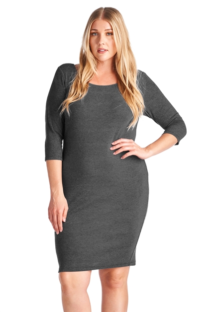 3/4 Sleeve Rib Dress - orangeshine.com