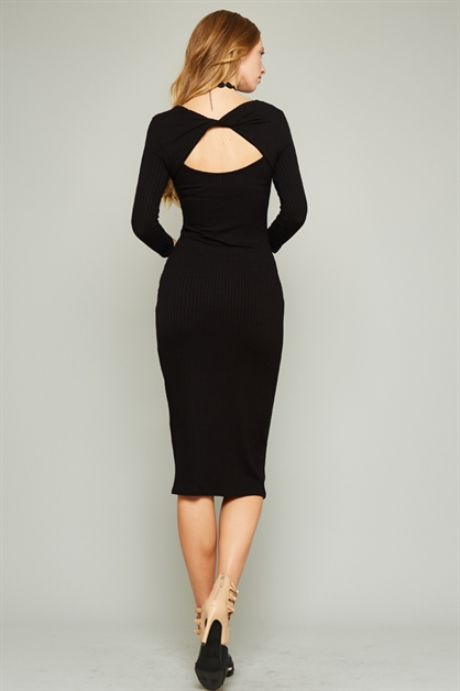 Calf-Length Rib Dress - orangeshine.com