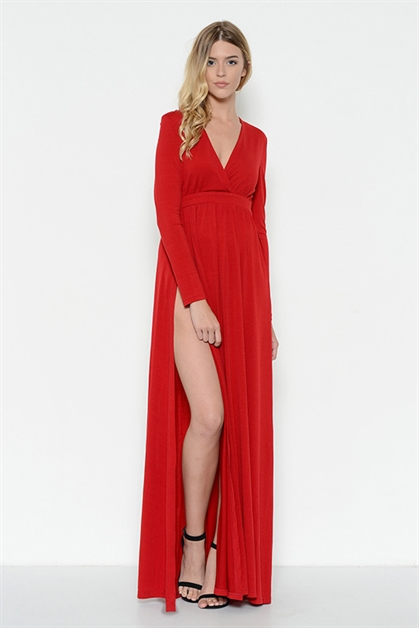Long Sleeve Maxi Dress - orangeshine.com