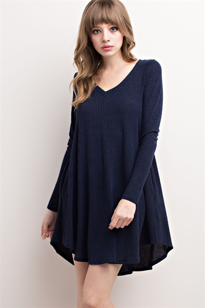 RIBBED V-NECK SWEATER DRESS - orangeshine.com