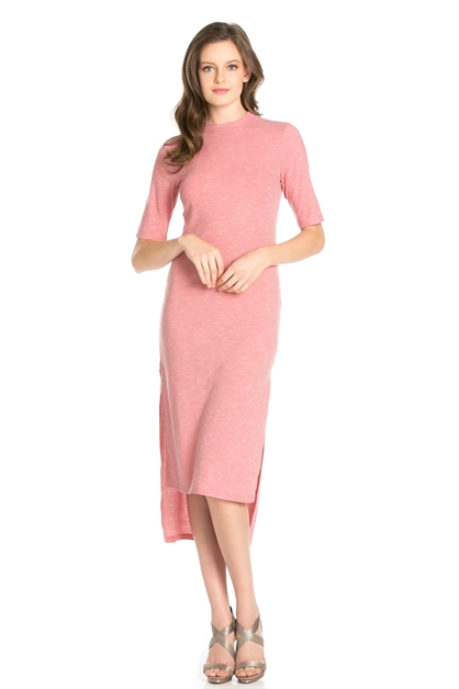 2 TONE RIB SLEEVE LONG DRESS - orangeshine.com