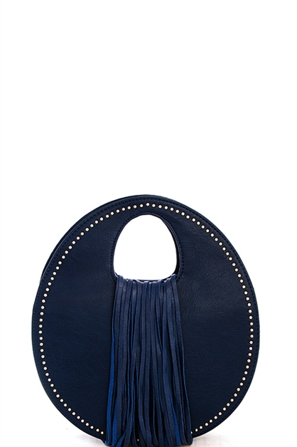 Studded Circle Tassel Satchel - orangeshine.com