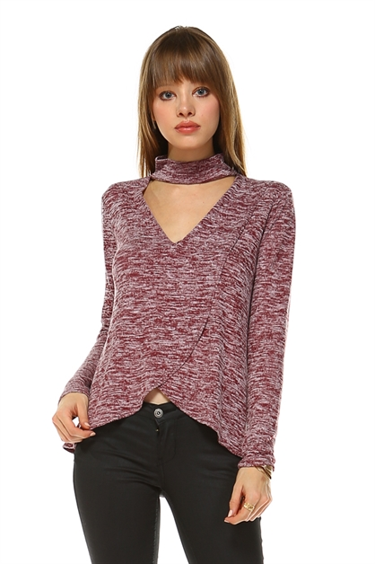 Long sleeve v-neck top - orangeshine.com
