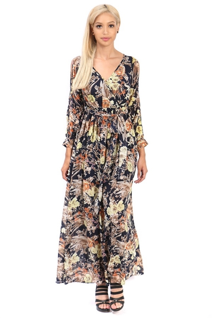 sleeves floral maxi dress - orangeshine.com