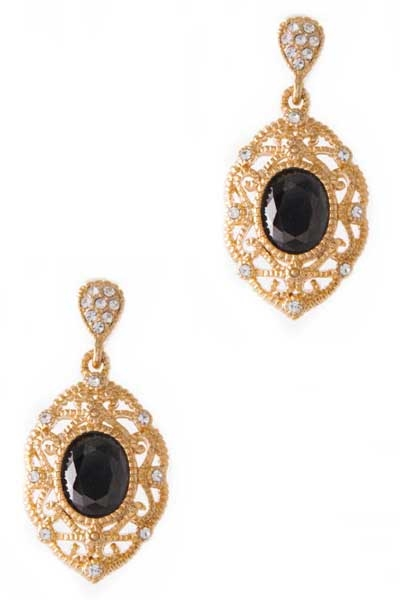 GEM PAVE OVAL CRYSTAL EARRING - orangeshine.com